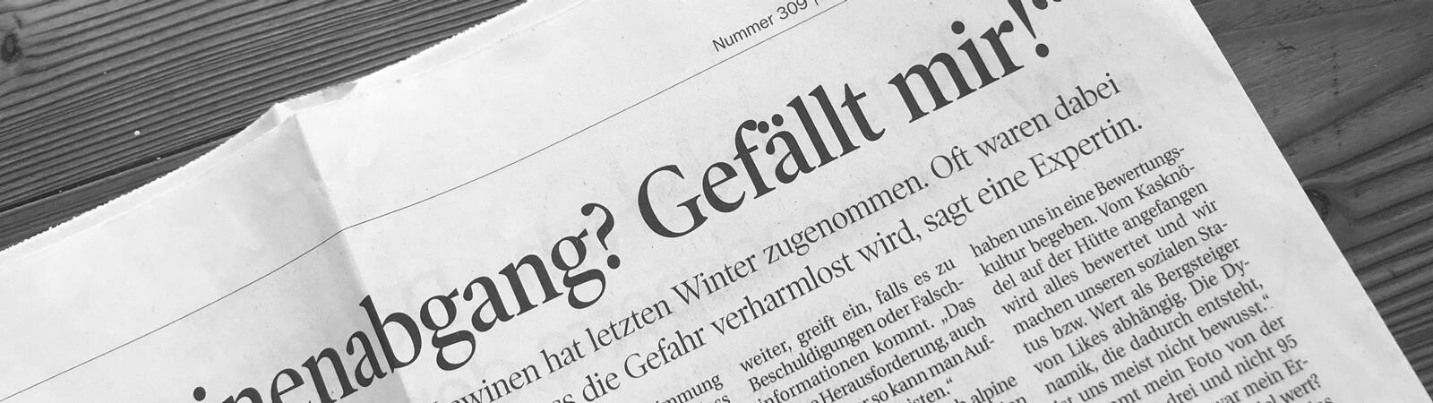 """Lawinenabgang? Gefällt mir!"" in der Tiroler Tageszeitung"