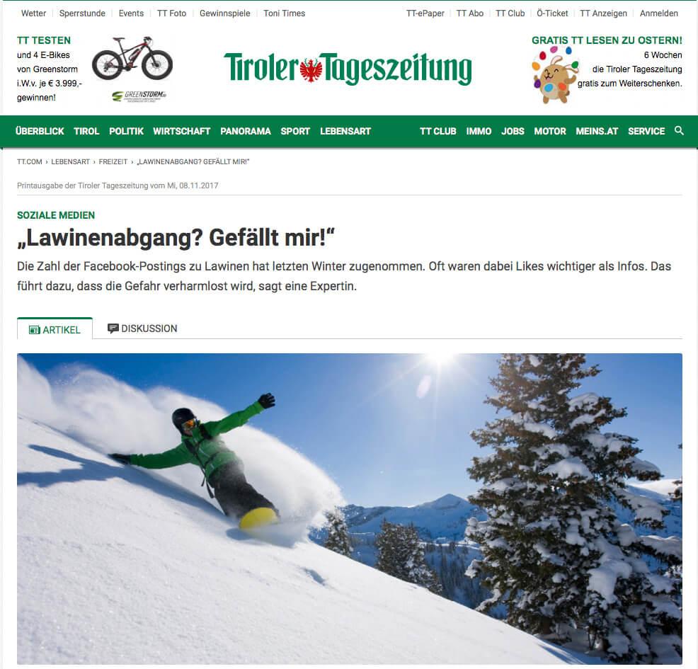 Interview Tiroler Tageszeitung Lawinen I alpinonline
