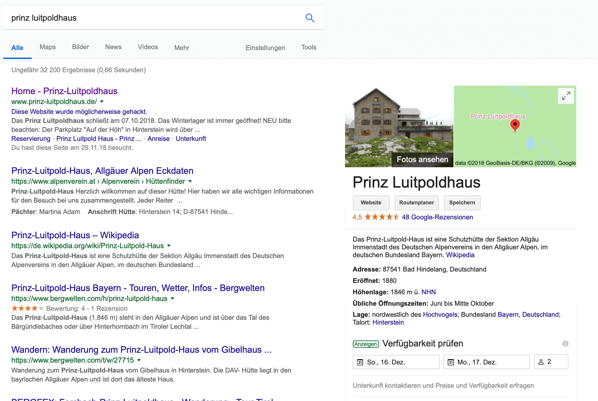 Darstellung Google My Business Seite in der Google Suche I alpinonline